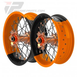 Jantes alpina supermotard orange et noir tubeless
