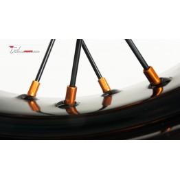 Roue arrière supermotard KTM SXF EXC jantes IP evo rayons noir tete anodisées