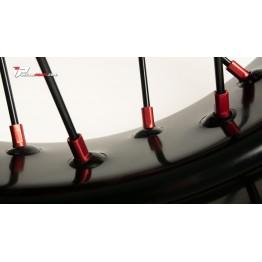 Tete de rayon anodisées et rayons noir jantes supermotard pour Honda